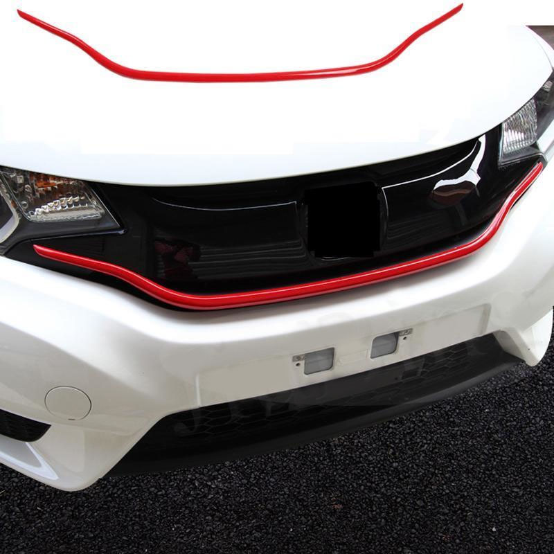 Car Part Front Grill Grilles ABS Red Decoration Fit For Honda Fit//Jazz 2014-2018